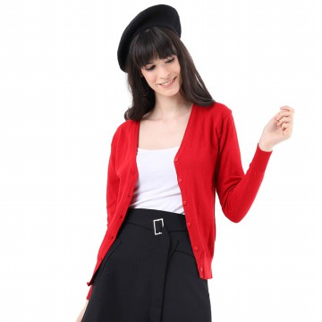 Mobile Power Ladies Basic Cardigan - Red MPL258