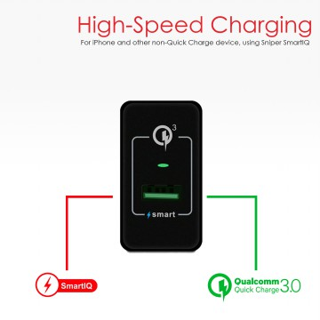 Sniper Wall Charger+ 1 Port Fast Charging Qualcoom Quick Charge 3.0 - Black