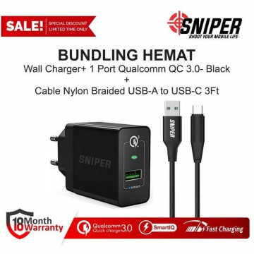 BUNDLING Sniper Wall Charger+1 QC 3.0 & Nylon Braided Type C 3ft