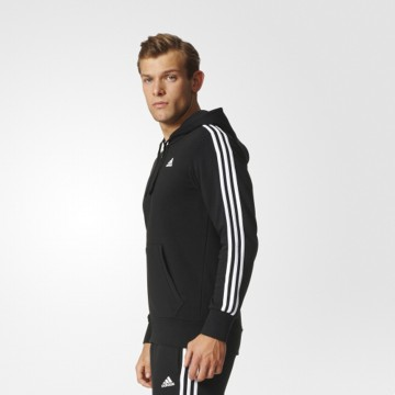 Jaket Olahraga Lari Gym Fitness Adidas Essentials 3-Stripes Hoodie M Jacket - Black White S98786