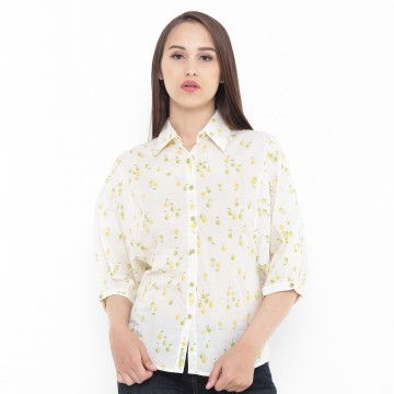 Mobile Power Ladies Baloon Sleeve Blouse Printing - Yellow M8147