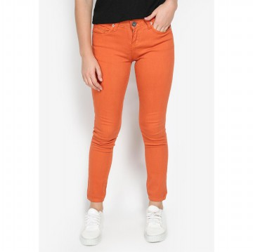 Mobile Power Ladies Basic Slim Fit Long Pants Jeans - Orange C2857S