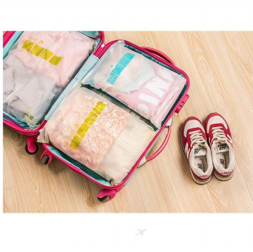 4 pcs Tas Travel Set Waterproof Bag in Bag Organizer with Ziplock Kantong Tebal - Travel Pouch