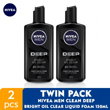 NIVEA MEN Clean Deep Bright Oil Clear Liquid Foam 150ml - Twin Pack