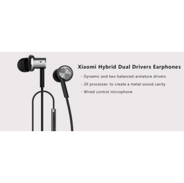 XiaoMi Mi IV Hybrid Dual Drivers Earphones In Ear Headphones - Silver Kabel