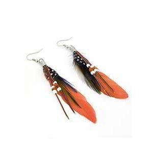 Anting Fashion Personality Feather Bead Earrings Orange Aksesoris RS