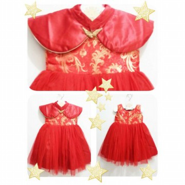 Dress Anak Perempuan Gaun Mardi Amber Goldie Red 2in1