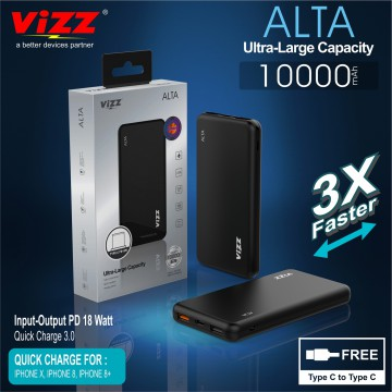 VIZZ Powerbank PB18 ALTA 10000 mAh Double Port