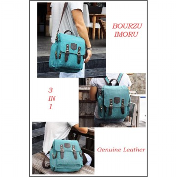 TAS KANVAS RANSEL-MESSENGER-HANDBAG BOURZU IMORU 3 IN 1 Genuine Leather