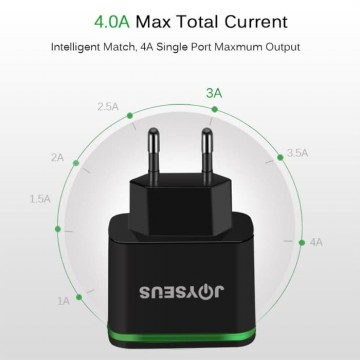 JOYSEUS 4 Ports USB Charger 5 V/4 A Smart Adapter Black - CL0004