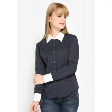 Mobile Power Ladies Basic Shirt Combination Color - Navy & White L8309A