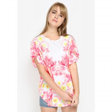 Mobile Power Ladies Batwing T-shirt Flower Printing - Pink MR102