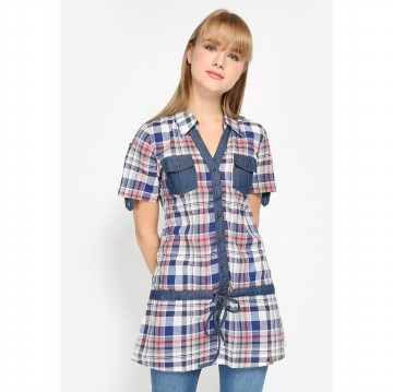 Mobile Power Ladies Plaid Tunic Short Sleeve Denim Combination - R8205