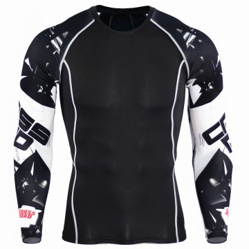 Kaos Olahraga Ketat Pria Crossfit MMA Compression Shirt Long Sleeve Size L - Black