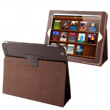 Leather Case Dengan Fungsi Sleep Untuk iPad 2/3/4 - Brown
