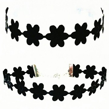 Black Big Daisy Choker Plain Necklace | Kalung Handmade