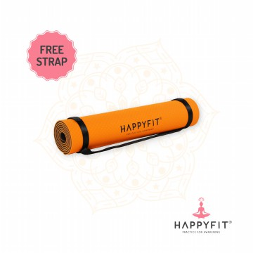 HAPPYFIT TPE ECO FRIENDLY YOGA MAT - ORANGE GREY /MATRAS ANTI SLIP PREMIUM - FREE STRAP