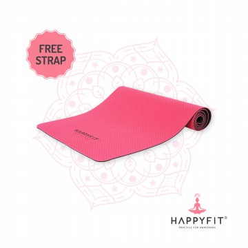 HAPPYFIT TPE  ECO FRIENDLY YOGA MAT - PINK GREY /MATRAS ANTI SLIP PREMIUM - FREE STRAP