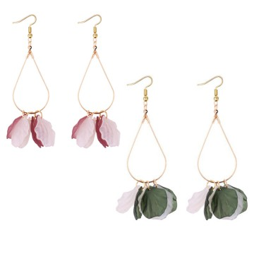 anting panjang daun bunga acrylic petals tassel earrings jan145