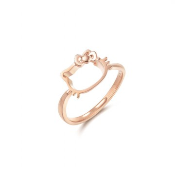 Hello Kitty Ring - Cincin Kawin- Cincin Emas Berlian - Emas Putih 18K
