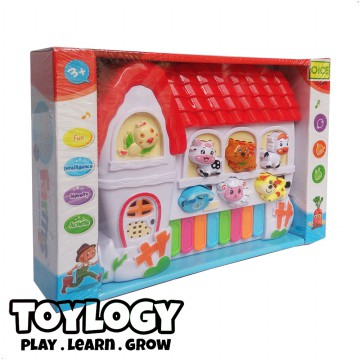Toylogy Mainan Alat Musik Piano - Farms Animal Word - Multicolor