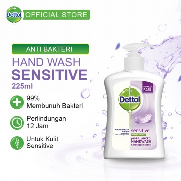 Dettol Sabun Cuci Tangan Sensitive-Pump 225ml-Hand Wash Anti Kuman [RBH-DCS-03]