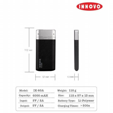 Power Bank 6000 mAH INNOVO ORIGINAL Portable Charger Leather IK-60A