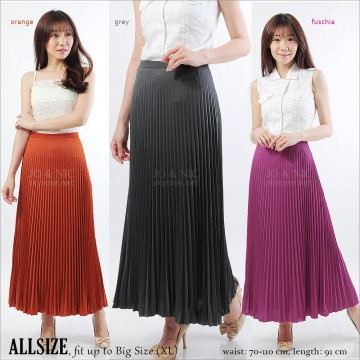 Pleated Long Skirt - Rok Lipit Panjang - fit up to XL