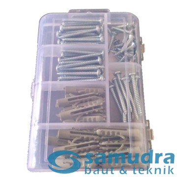 100 Pcs Sekrup Lion Fisher Set + Mini Box KENMASTER Fischer Screw DIY