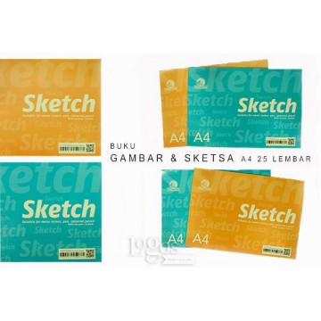 Buku Gambar & Sketsa A4 25 lembar utk Cat Air Pensil Pen Sketch Book