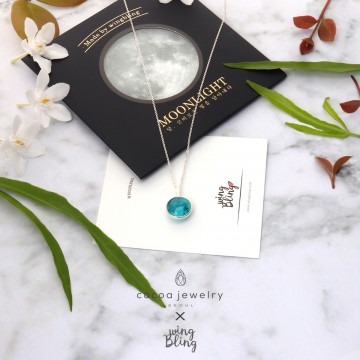 Cocoa Jewelry Blue Moon Necklace (Real Silver) / Kalung Silver Asli Blue Moon