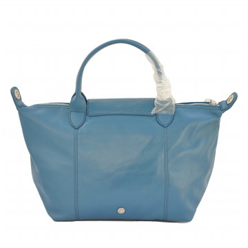 TAS BRANDED WANITA AUTHENTIC LONGCHAMP LE PLIAGE CUIR SMALL ORIGINAL WITH LONG STRAP - Blue