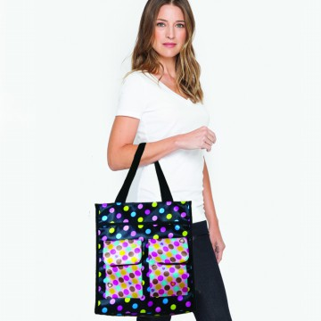 MULTI AGE TOTE BAG POLKADOT BLACK AND SOFT PINK