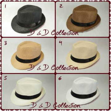 D & D Hat Collection Topi Fedora Anyaman Polos