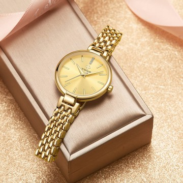 Wwoor 8865 Luxury Gold Jam Tangan Wanita Fashion Formal Kasual Dan Feminim Anti Air