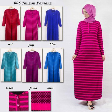 Striped Gamis Dress with Zipper Aqeela