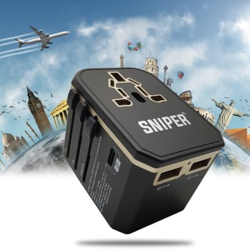 SNIPER POWERBOOM 33W PD+QC UNIVERSAL TRAVEL ADAPTER -GOLD