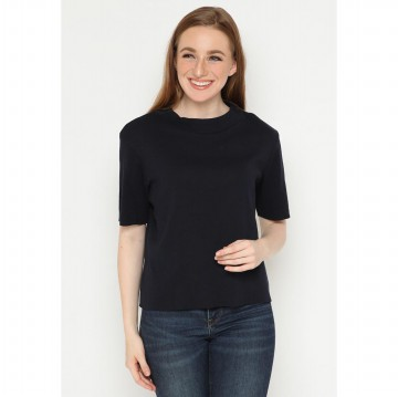 Mobile Power Ladies Turtle Neck T-Shirt - Navy Blue A129