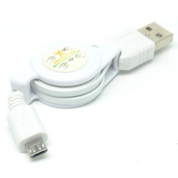 Taff Retractable Charging SYNC Data Micro USB Cable 80Cm - White