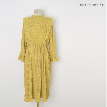 Q for Quality X CHERRYVILLE Sweat fril Dress, Yellow