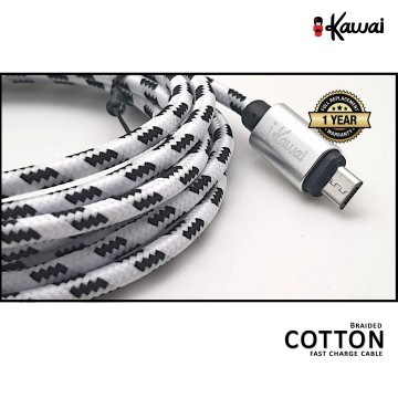 Ikawai MicroUSB Braided Cotton 200cm Fast Data Cable / Charge