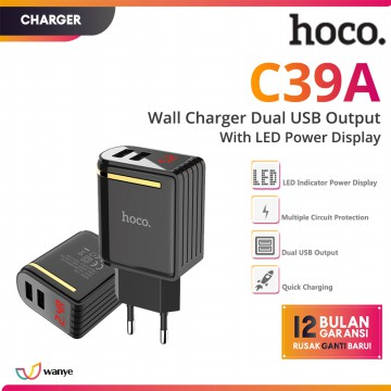 HOCO C39A Fast Charger Dual USB Quick Charging LED Display Adapter