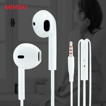Miniso Handsfree / Earphone Glossy   Mic 3.5 MM Headset Earphone