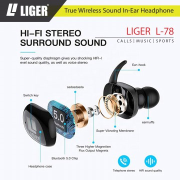 LIGER TWS Twins True Wireless Earbuds V5.0+DER Earphone Bluetooth - L78