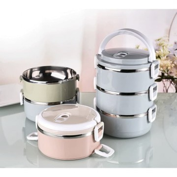 LUNCH BOX SET RANTANG SUSUN 3 STAINLESS STEEL ROUND BULAT TEMPAT MAKAN TRAVELING F525