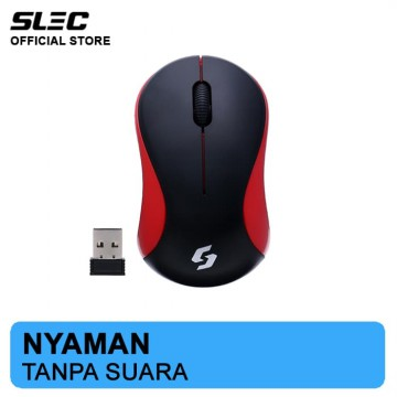 Mouse Wireless SLEC NC19 Silent Click - Merah