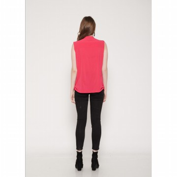 The-Fahrenheit Salisbury Klein V-Neck with Front Zippers - Pink