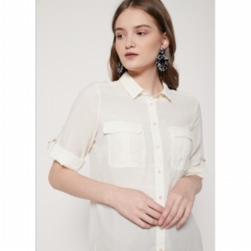 The-Fahrenheit Stirling & M Pocket Portofino Blouse - White