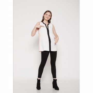 The-Fahrenheit Southampton Klein Contrast Trim-Top Colourblock Blouse - White