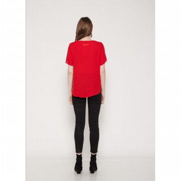 The-Fahrenheit Sheffield Republic Plain Solid High - Low Boxy Top - Red